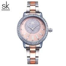 Shengke pulseira feminina relógio novo quartzo topo marca de luxo moda cristal relógios de pulso senhoras presente relogio feminino