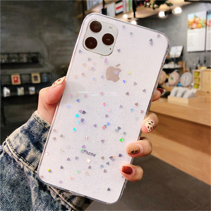 Kowkaka Clear Shiny Glitter Star Phone Case For iPhone 11 Pro Max X XR XS Max 6 6s 7 8 Plus Luxury Love Heart Fundas Back Cover