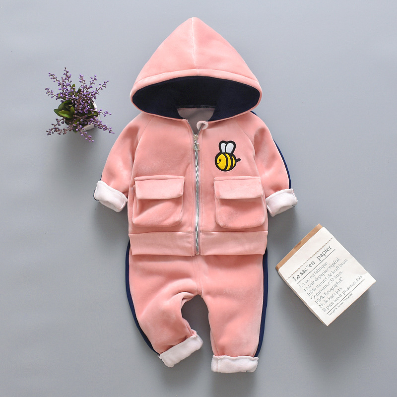 Winter Baby Boys Clothing Sets 2021 Cartoon Toddler Boys Girls Warm Hooded Coats Pants Suit Kids Thick Tracksuit Clothes Set 3