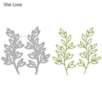 Ona kocha Metal liść oddział cięcia umiera dla papier do scrapbookingu tworzenie kartek 2020 nowy szablon do wytłaczania cięcia rękodzieło tanie i dobre opinie She Love Tree