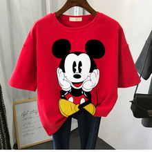 Disney cartoon Mickey Tshirt Tops Summer casual oversized Women T-shirts Ulzzang hip hop Streetwear Harajuku short sleeve tshirt