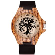 Black Tree of Life Imitation Bamboo Wood Watch Men Women Cou