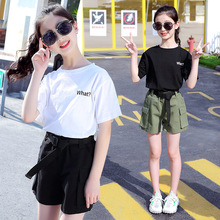 Summer Girls Clothes Sets Teenage Girl Clothing Suits Fashion Letter T-shirt + Casual Shorts 2Pcs Child Kids Casual Tracksuit korean girl fashion summer letter printed kids petal sleeves t shirt shorts suits pretty girl clothes