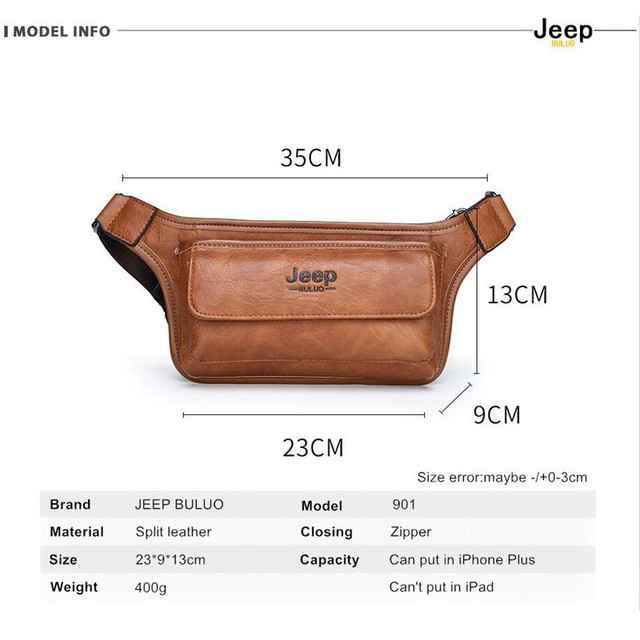 JEEP BULUO Brand Casual Functional Money Phone Belt Bag Chest Pouch Waist Bags Unisex Pack Sling Bag Leather Hip Bag 2