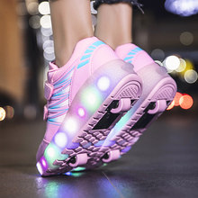 Roller Skates Sneakers Shoes Wheels LED Glowing Light Children Boys Girls Kids Fashion Pink 2021 Sports Casul Skates Sneakers