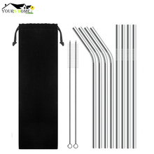 8pcs straws +  2pcs Brushs Straight And Bent Metal Drinking Straw Stainless Steel Reusable Straws For Beer Fruit Juice
