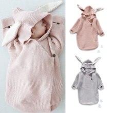 Детские одеяла для новорожденных, Вязаные чехлы с кроличьими ушками для фотосъемки в стиле зайчика, пеленка DXAD