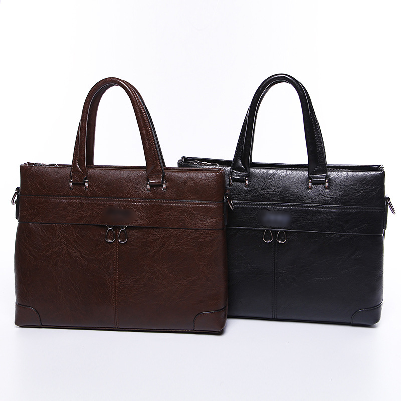 New Fashion PU Men's Hand-held High-capacity Casual Business Case Cross-section Single-shoulder Data Package  Men Leather Bag
