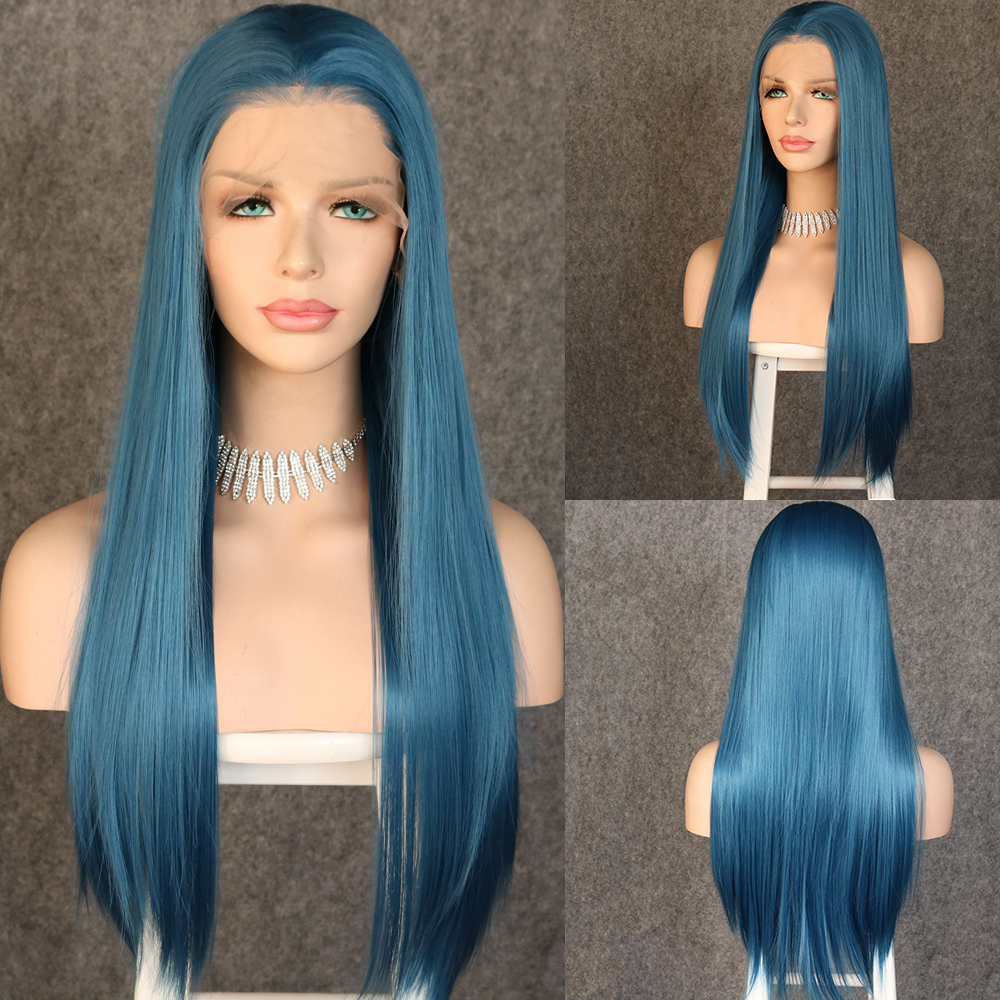 Lvcheryl 13x6 Blue Color Long  Silky Straight Synthetic Lace Front Wigs Free Parting Futura Fiber Hair Wigs For Women