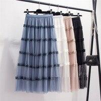 MEVGOHOT Woman Mesh Hot Hollow Out Pleated Patchwork Skirt Winter Autumn Plus Size High Waist Pink Skirts Femme HM764