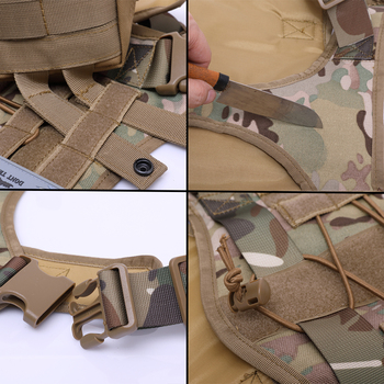 Military Tactical Dog Harness German Shepherd Pet Dog Vest With Handle Nylon Bungee Dog Leash Harness For Small Large Dogs Puppy 3