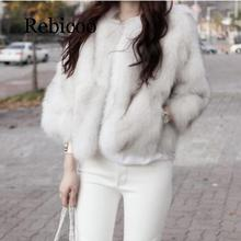 2019 autumn new fur seven points long section O collar casual coat female large size fashion faux