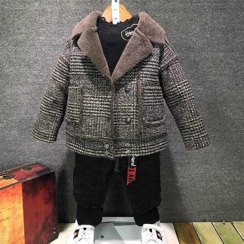 Children's Boys Woolen Jackets 2019 New Toddler Winter Clothes Baby Boys Lapel Plaid Velvet Thick Jacket Coats Toddler Outwear