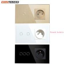Franse Stopcontact Lichtschakelaar 1/2/3 Gang Met 1 Manier Elektrische Stopcontacten Crystal Glass Touch Panel 16A frankrijk Rechthoekige
