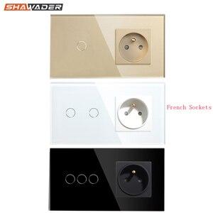 Image 1 - Franse Stopcontact Lichtschakelaar 1/2/3 Gang Met 1 Manier Elektrische Stopcontacten Crystal Glass Touch Panel 16A frankrijk Rechthoekige