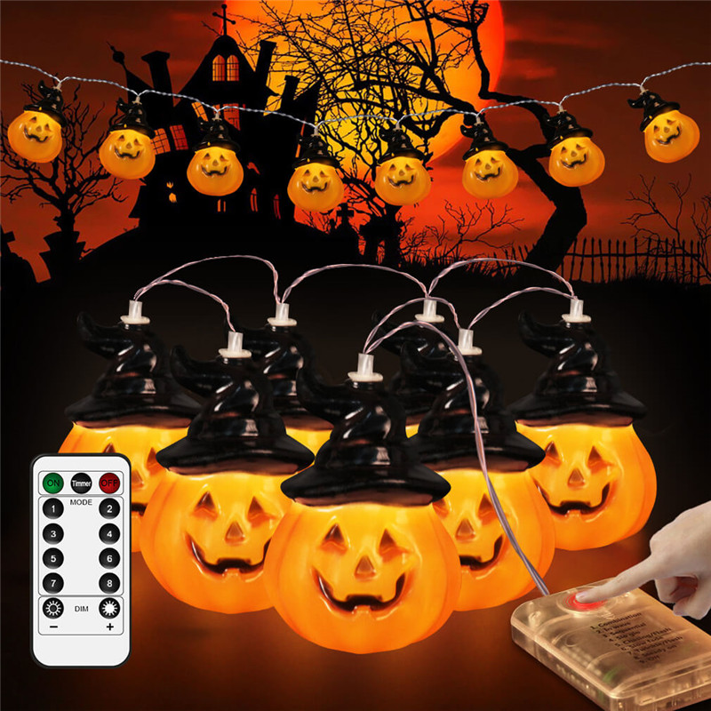 Remote LED String Light Pumpkin Lanterns Battery Christmas Halloween Funny Terrify Ghost Garden Home Party Holiday Decoration