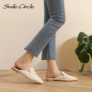 Smile Circle Summer Women Flat Shoes Slip-On Loafers Mules Flip Flops Minimalism Pointed Flat Heel Slipper Ladies sandals