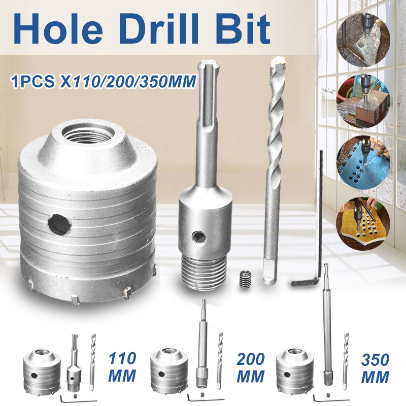 DOERSUPP Durable Shank Drill Bit 65mm Wall Hole Saw 110/200/350mm Rod For Concrete Cement Stone
