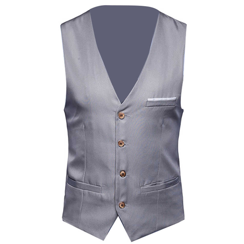 Plus rozmiar formalne mężczyźni solidny kolor garnitur kamizelka jednorzędowa biznesowa kamizelka kamizelka biznesowa kamizelka okazjonalna męska business Casual Sl