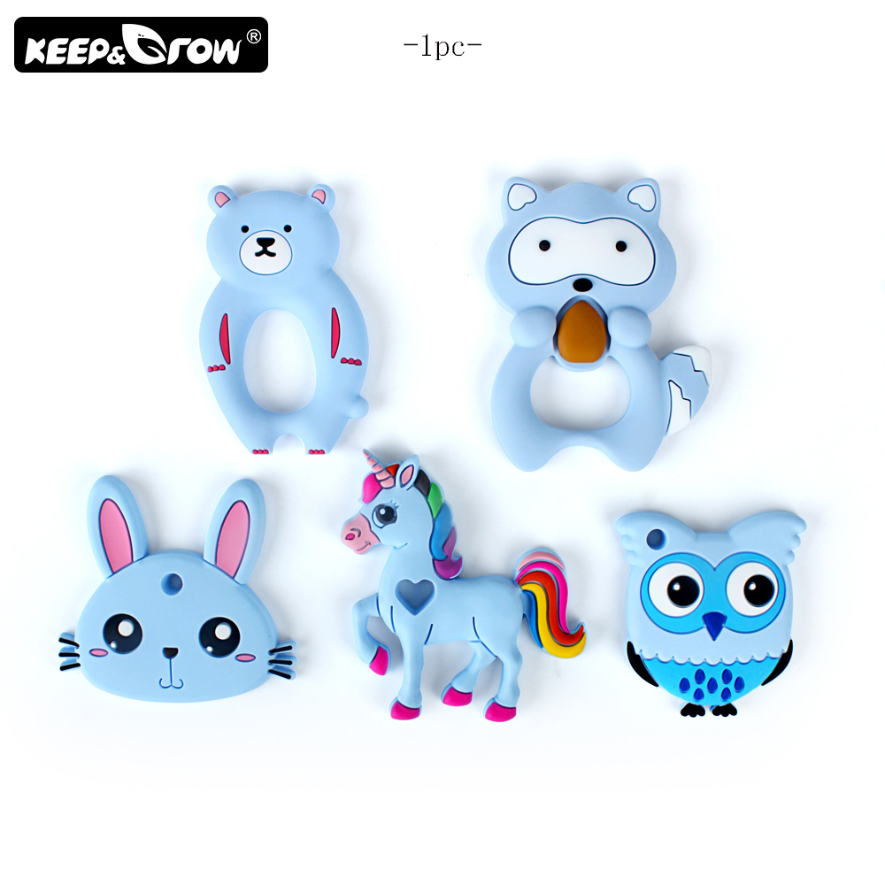 Keep&Grow 1pc Silicone Teether Animals Koala Owl Baby Teethers Silicone Beads BPA Free DIY Teething Necklace Accessories