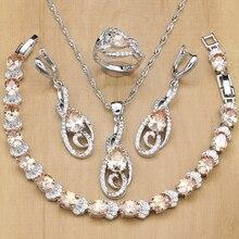925 ayar gümüş gelin takı setleri şampanya zirkon beyaz kadınlar için kristal küpe/kolye/yüzük/bilezik/kolye seti