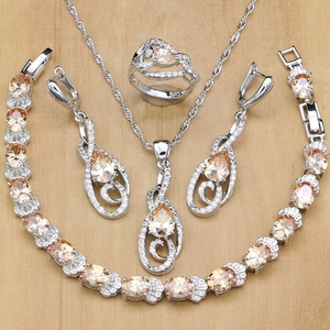 Image 1 - 925 ayar gümüş gelin takı setleri şampanya zirkon beyaz kadınlar için kristal küpe/kolye/yüzük/bilezik/kolye seti