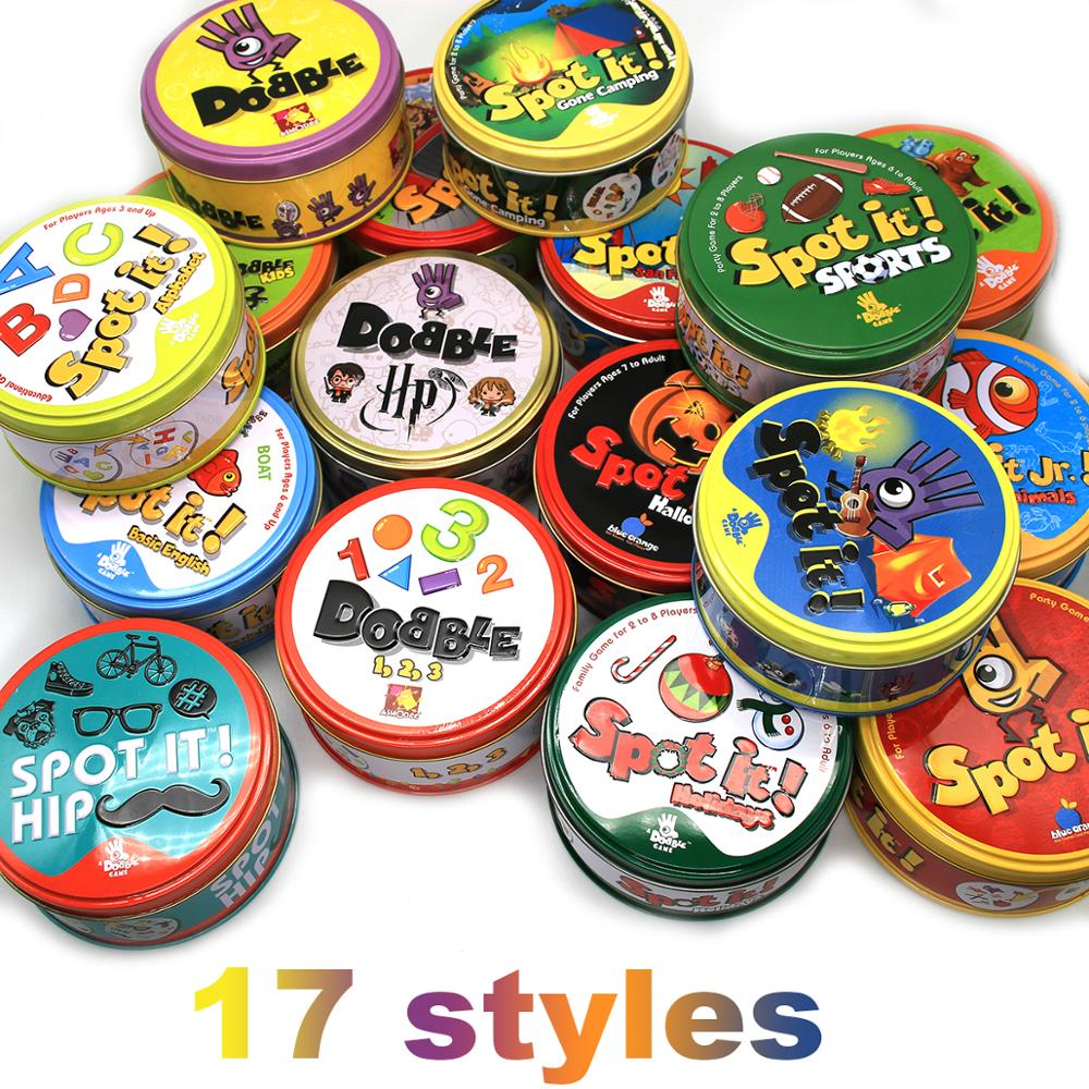Dobble Spot It Toy Iron Box 55 Cards Sport Fun Family Animals Jr Hip Kids Board Game Gift Holidays Camping 123 Tin Gift Box 2