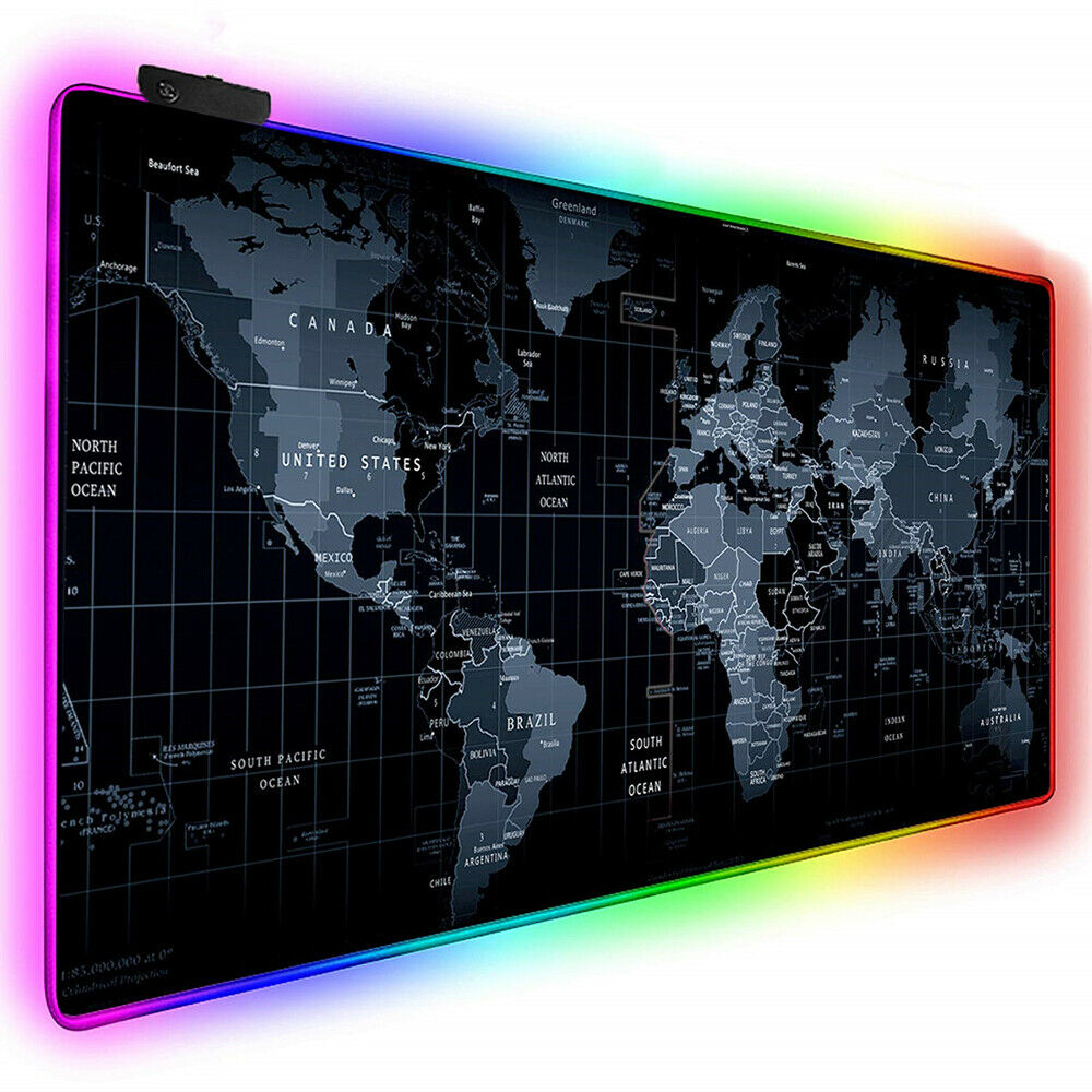 RGB Gaming Mouse Pad Gamer Computer LED Lighting USB Large World Map Mousepad Colorful Non-slip Desk Pad Mice Mat