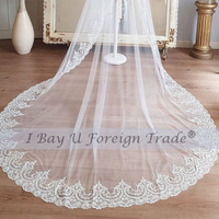 Ivory Lace Bride Veils Wedding Accessories Luxury Lace Edge Wedding Veil with Metal Comb 3M