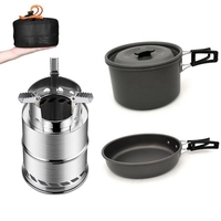 Outdoor Pot Frying Pan Set Portable Folding Wood Stove Combination Set Stainless Steel Cookware For Camping Hiking Travel