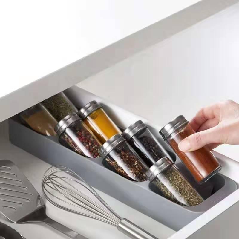 Drawer Organizer Storage Rack 8 Grid Spice Storage Rack Kitchen Sauce Bottle Holder Cabinet Drawer Organizer For Spice Jar