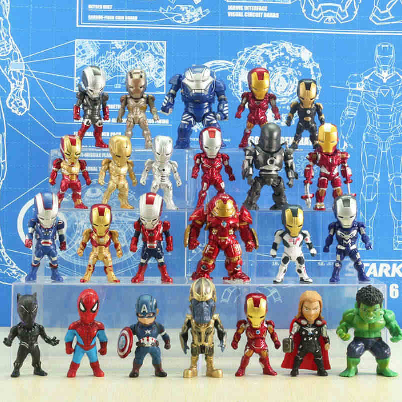 Marvel Action Figure Avengers Thor Hulk Iron Man Spiderman Thanos Captian America Black Panther Auto Da Collezione Model Toy