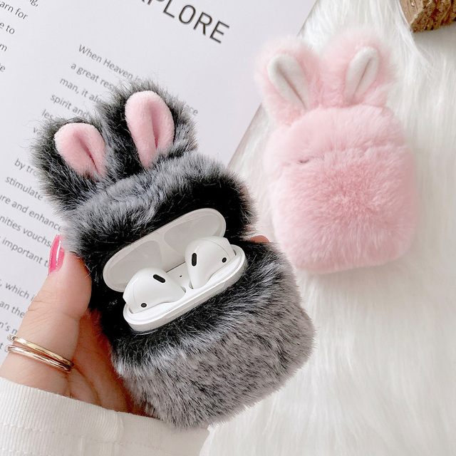 Soft Rabbit Ear Fur Case for Apple AirPods 1 2 Wireless Charging Fluffy Box with Carabiner Plush Cover for Airpods Pro Case Capa 2