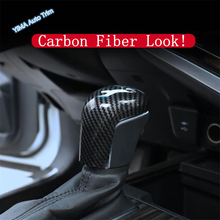 Lapetus Auto Styling Gear Head Shift Knob Stickers Cover Trim For Toyota Camry 2018 2019 2020 ABS Matte / Carbon Fiber Style lapetus accessories for toyota camry 2018 2019 matte carbon fiber abs front head light switches button molding cover kit trim