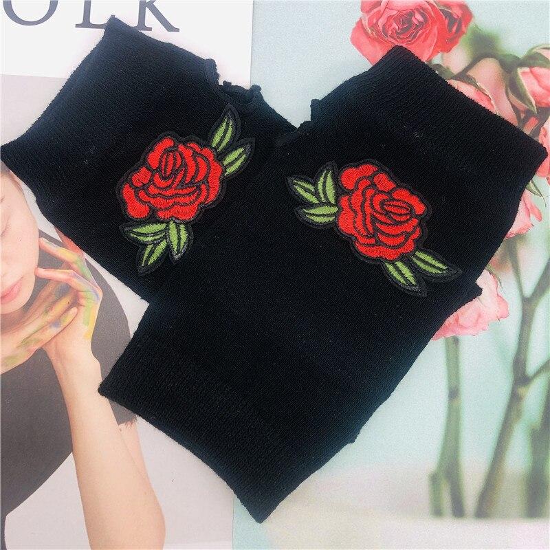ZAOLIHU Winter Gloves Red Rose Women Cotton Gloves Black Half Finger Warm Gloves Cheap Adult Flower Designer Knitted Gloves