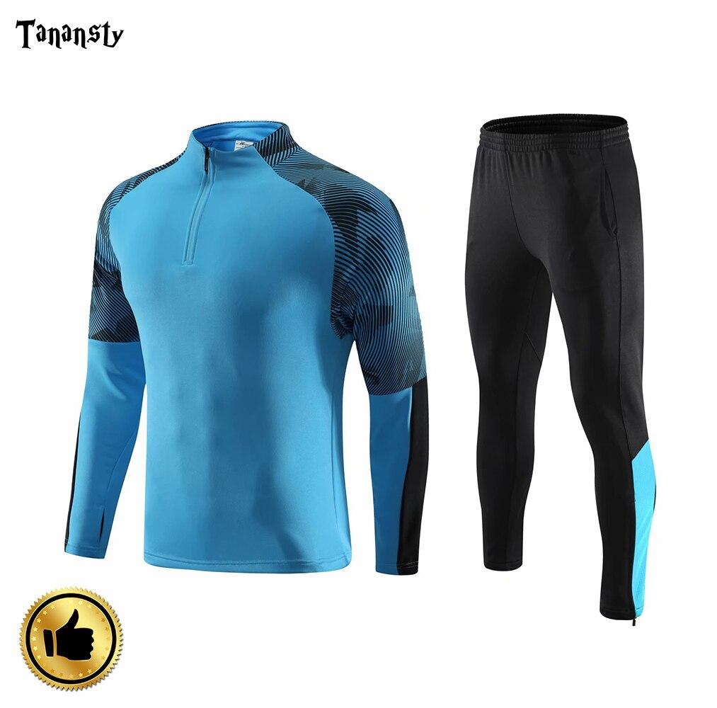 Взрослые футбольные майки с длинным рукавом, наборы Survete, мужские футбольные комплекты, мужские куртки для бега, спортивный тренировочный