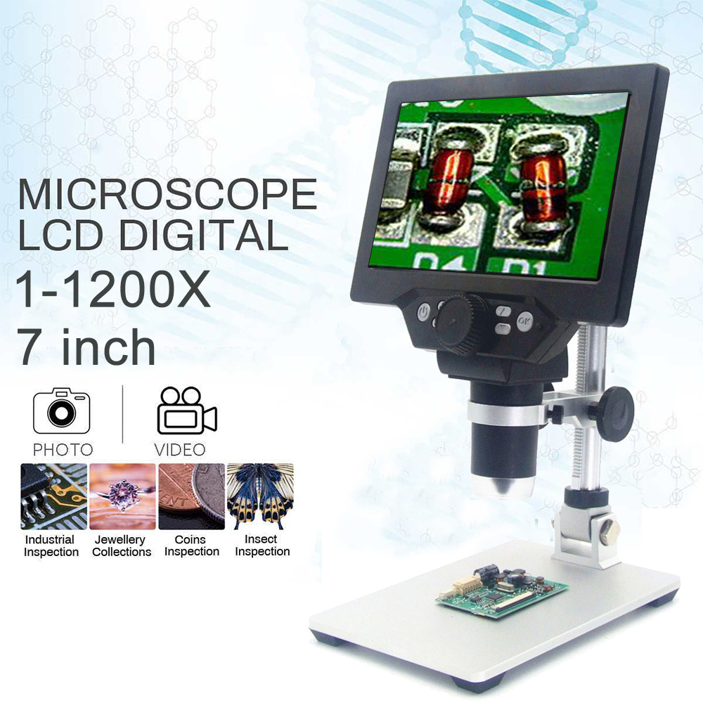1-1200X G1200 Microscope numérique Microscope vidéo électronique 7 pouces affichage LCD 12MP amplificateur continu loupe avec batterie