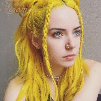 Peluca sintética de ondas largas de agua de color amarillo con línea de pelo Natural y parte media para Mujeres Negras/blancas, peluca de Cosplay para fiestas