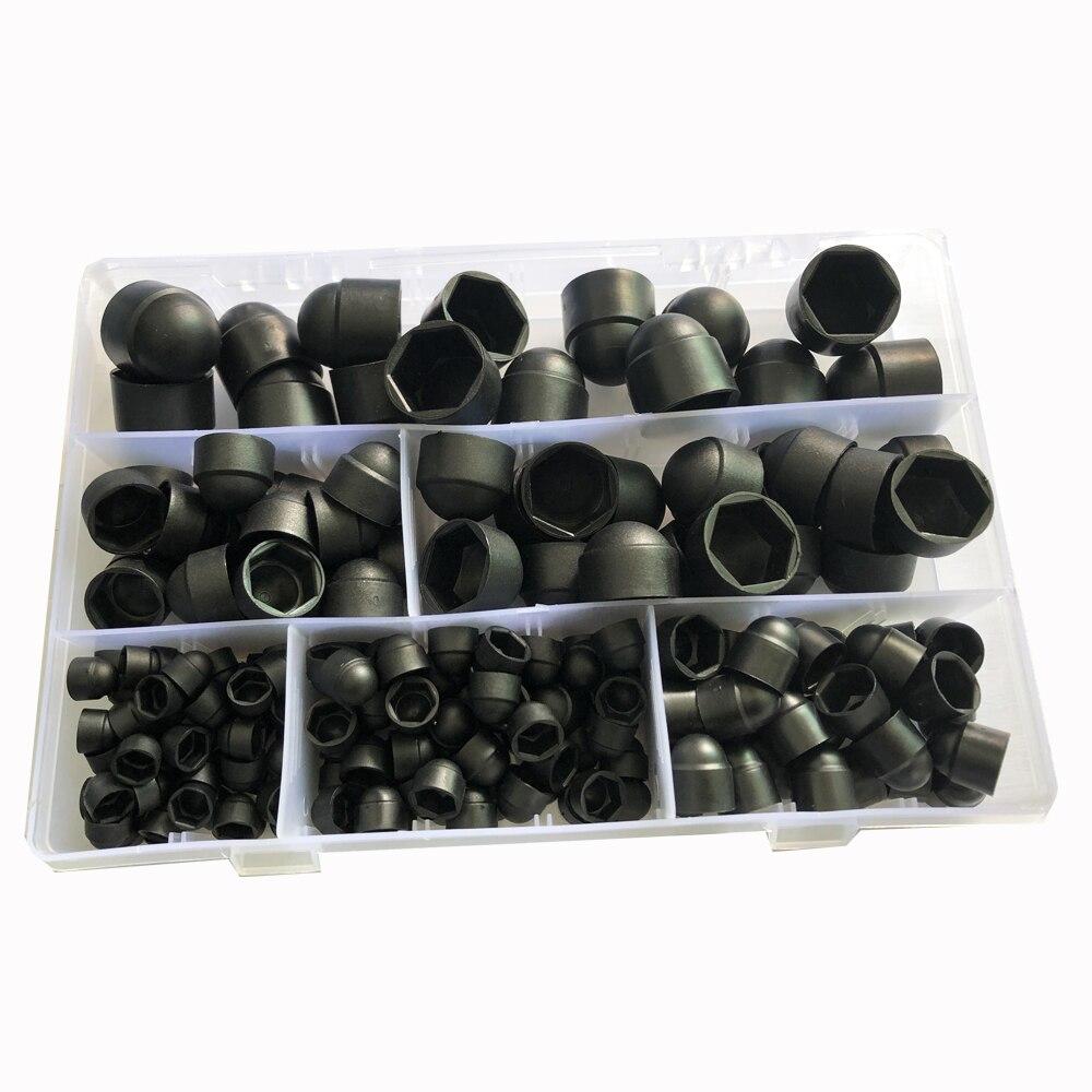 Black White Dome Protection Cap Covers Exposed Hexagon Plastic PE Nut Bolt Assortment Kits