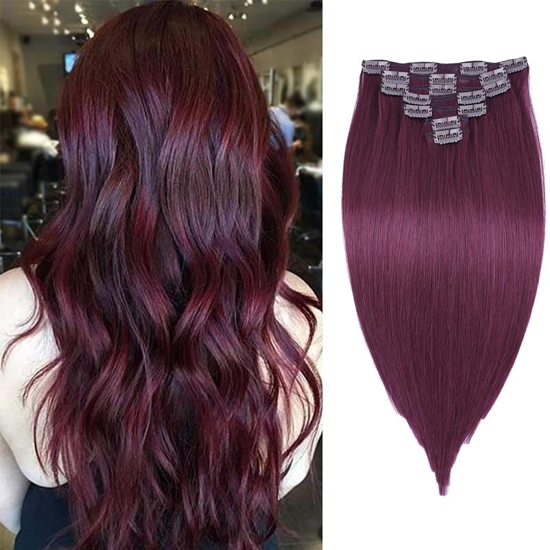 Leshine Clip In Human Hair Extensions Red Machine Remy  Hair Extensions Natural Hair 18''20''22'' 120G Double Drawn Hair