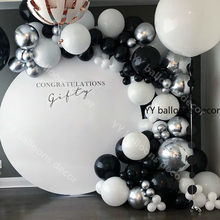 125 Pcs Marmer Balon Garland Kit Chrome Sliver Hitam Putih Balon Arch Ulang Tahun Pernikahan Bayi Shower Hollywood Dekorasi Pesta(China)