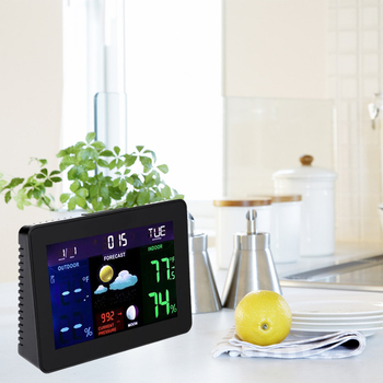 LCD Full Color Weather Station With Temperature Humidity And Forecast Household Smart Clock