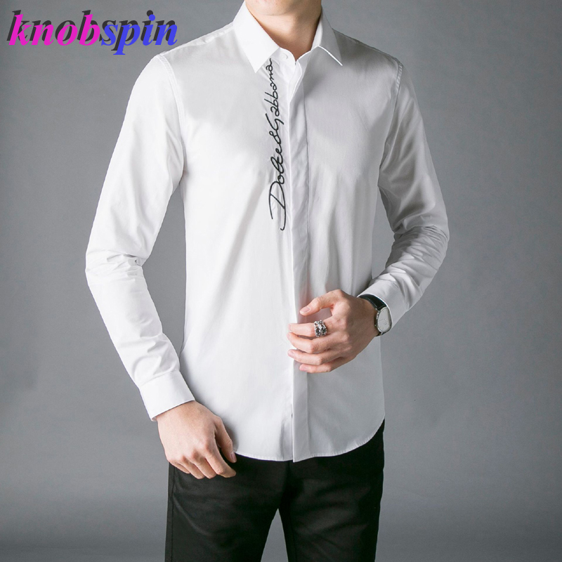 2019 Europe Fashion Men Shirt Top Brand Business Male Dress Shirts Long Sleeve Slim Chemise Homme High Quality Cotton Shirts