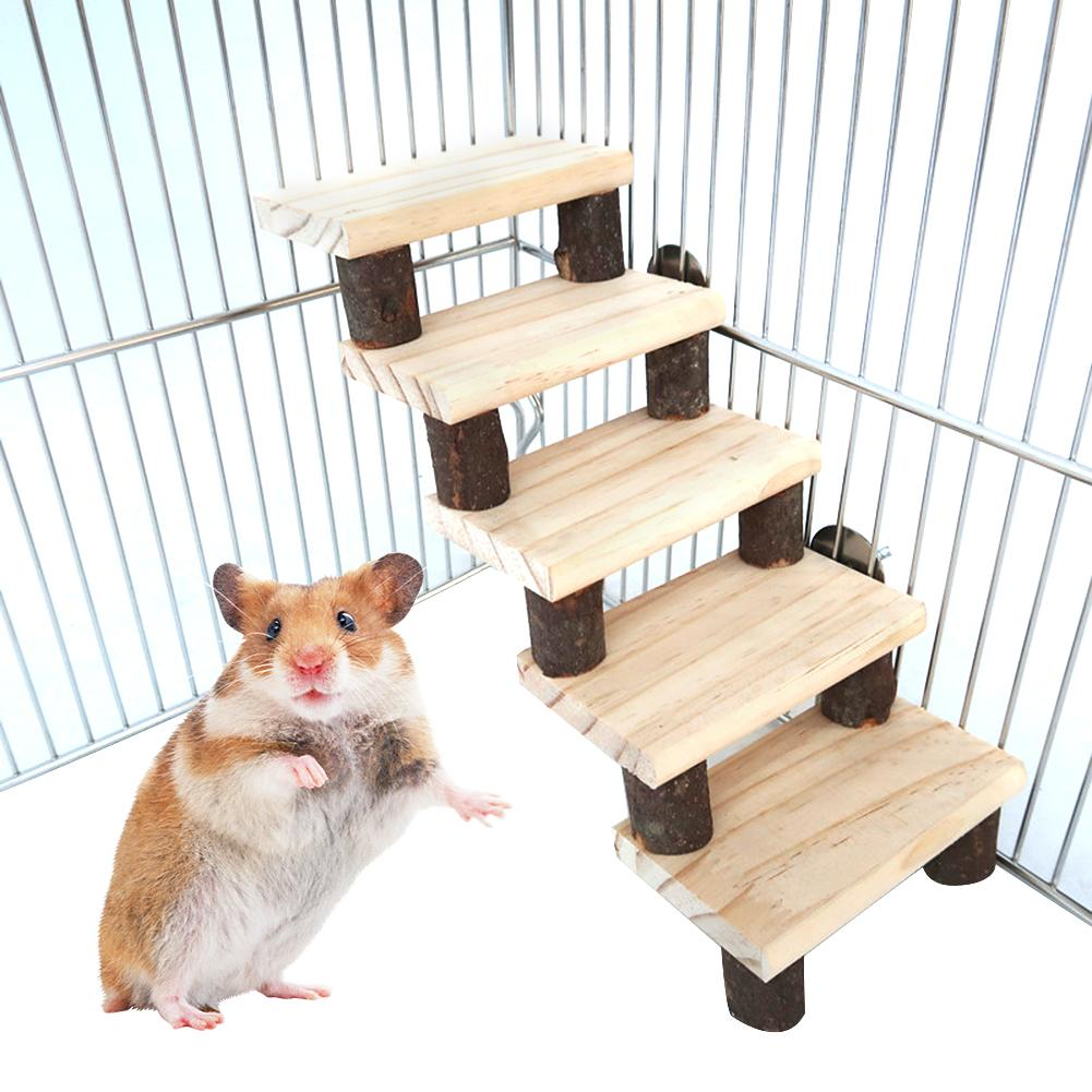 Small Pet Stair Toy Hamster Guinea Pig Toy Ferrets Toy Stairs Wood Mouse Hamster Ladder Bird Standing Stairs