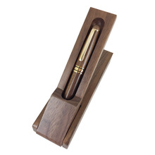 ACMECN Walnut Wood Pen Box Office Desk Decoration Writing Stationery Eco friendly Natural Wood Craft Ball Pen Wood Pen Set Gifts