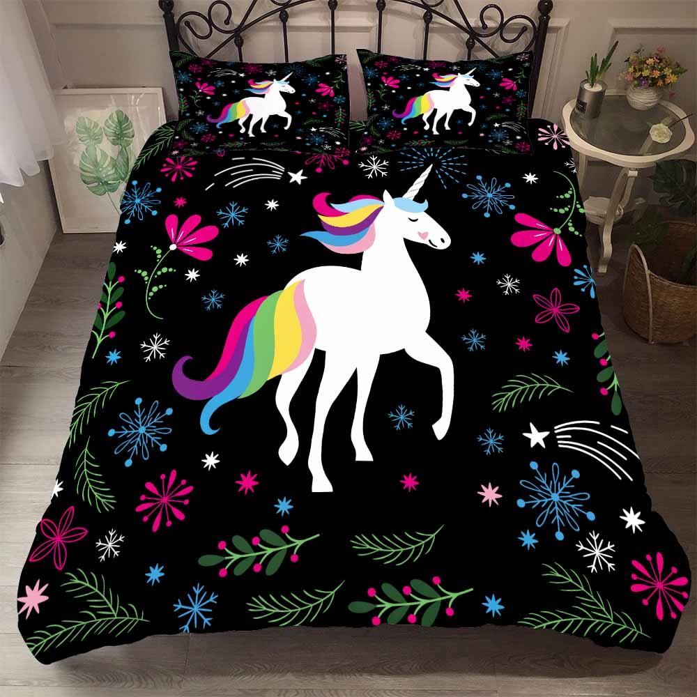 Rainbow Unicorn Comforter Set Floral Snowflake Girls Bedding Single Double Duvet Set Winter Bedspread Black Background Bed Cover