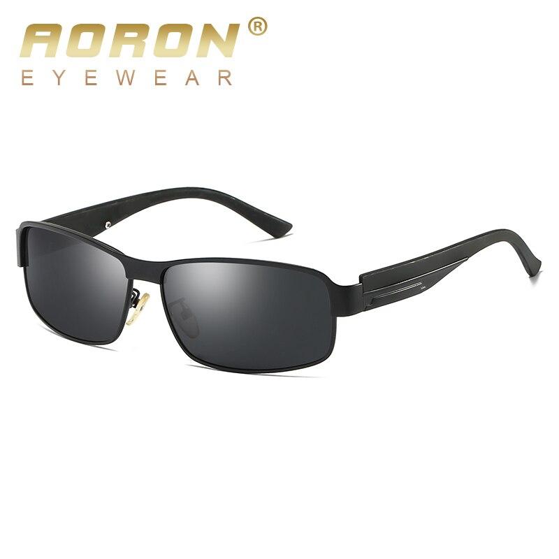 AORON Mens Polarized Sunglasses Men Rectangle Classic Design Sun Glasses 100% UV Protection Alloy Frame Goggles Eyewear