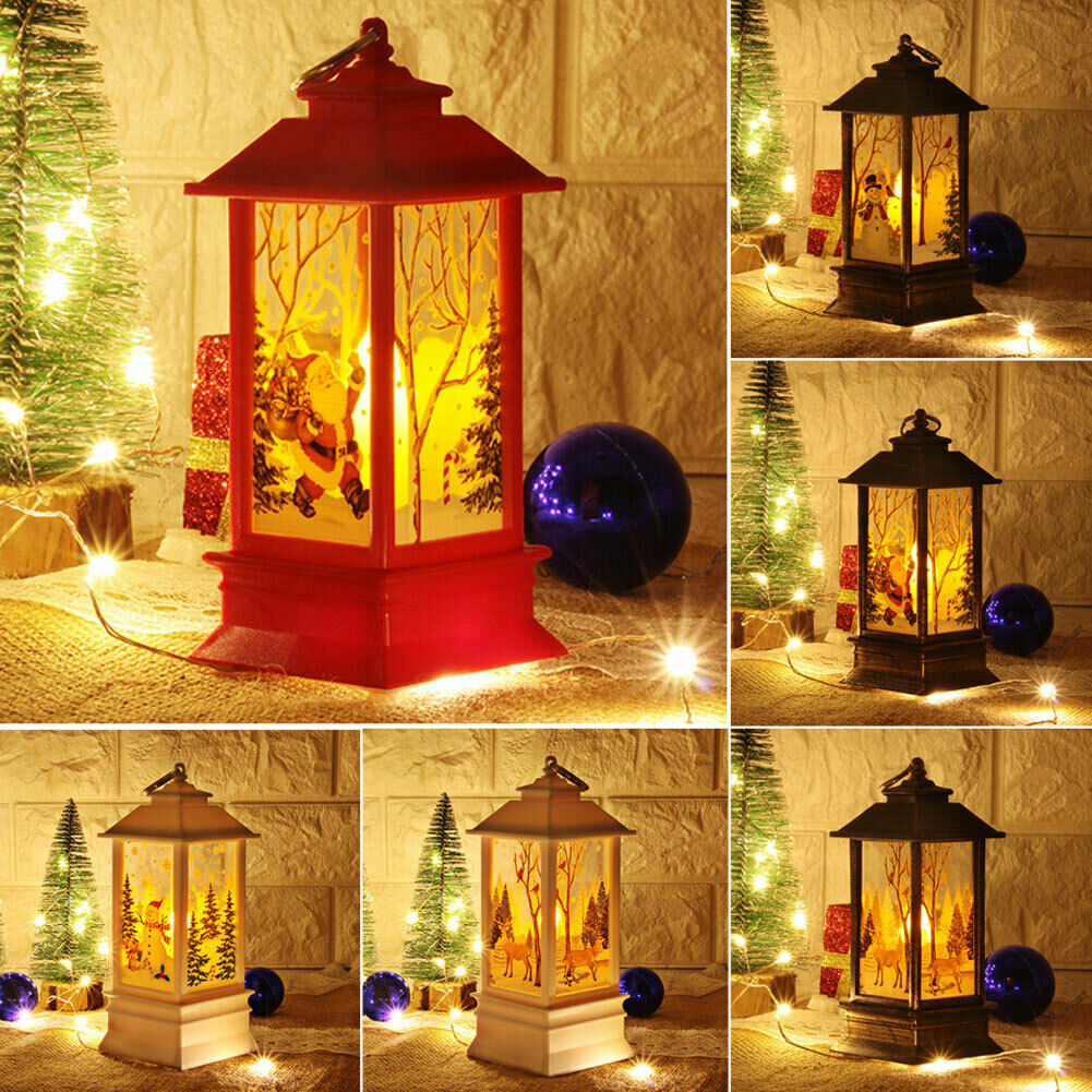 Christmas Decoration Vintage Castle Light LED Lamp Xmas Tree Ornaments Pendants Hanging Home Candle Decor Lantern Party Supplies
