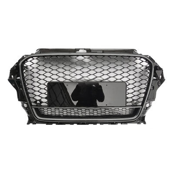 High quality Front Grille For Audi A3 2014-2016 Upgrade Audi RS3 and Carbon fiber pattern Frame with Silvery Logo