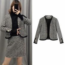 England elegant women's suit blazer tweed single Breasted Office Wear Plaid shor